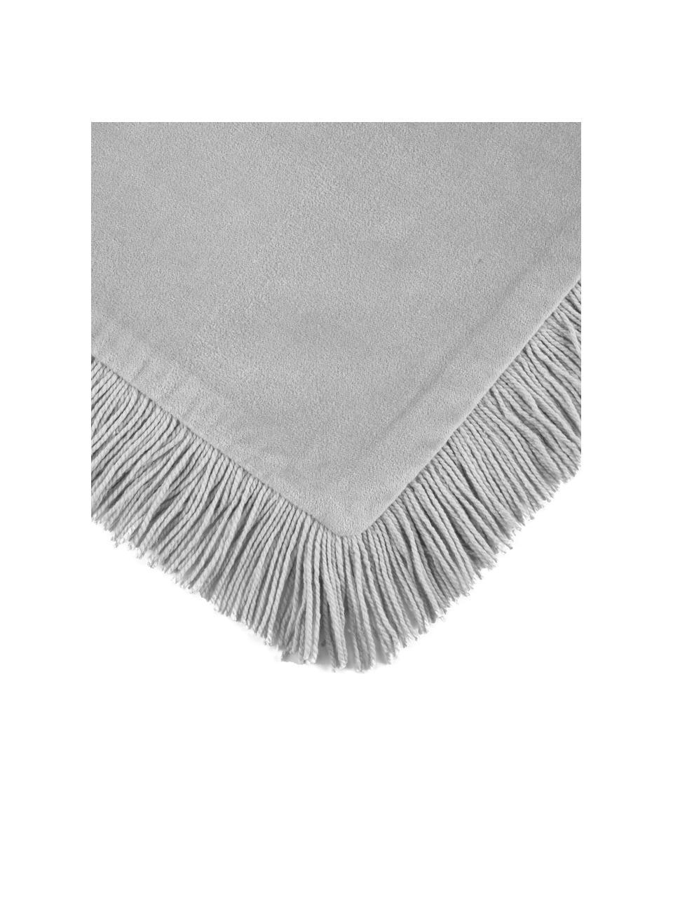 Federa arredo in velluto con frange Phoeby, 100% cotone, Grigio chiaro, Larg. 40 x Lung. 40 cm