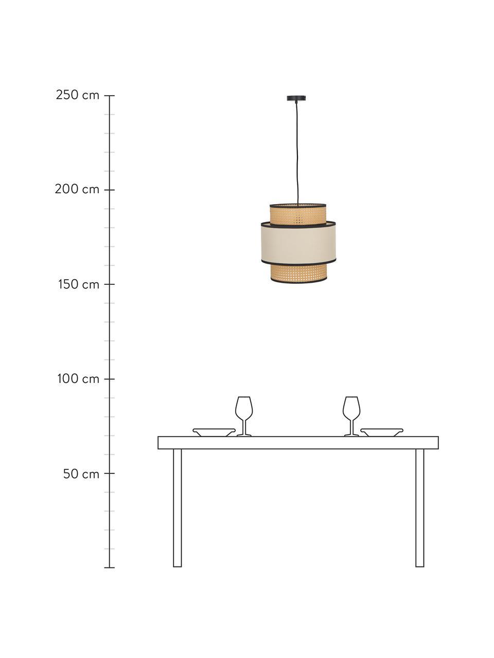 Hanglamp Vienna van Weens vlechtwerk, Baldakijn: gepoedercoat metaal, Lampenkap: katoenmix, kunststof, Beige, zwart, crèmekleurig, Ø 40  x H 40 cm