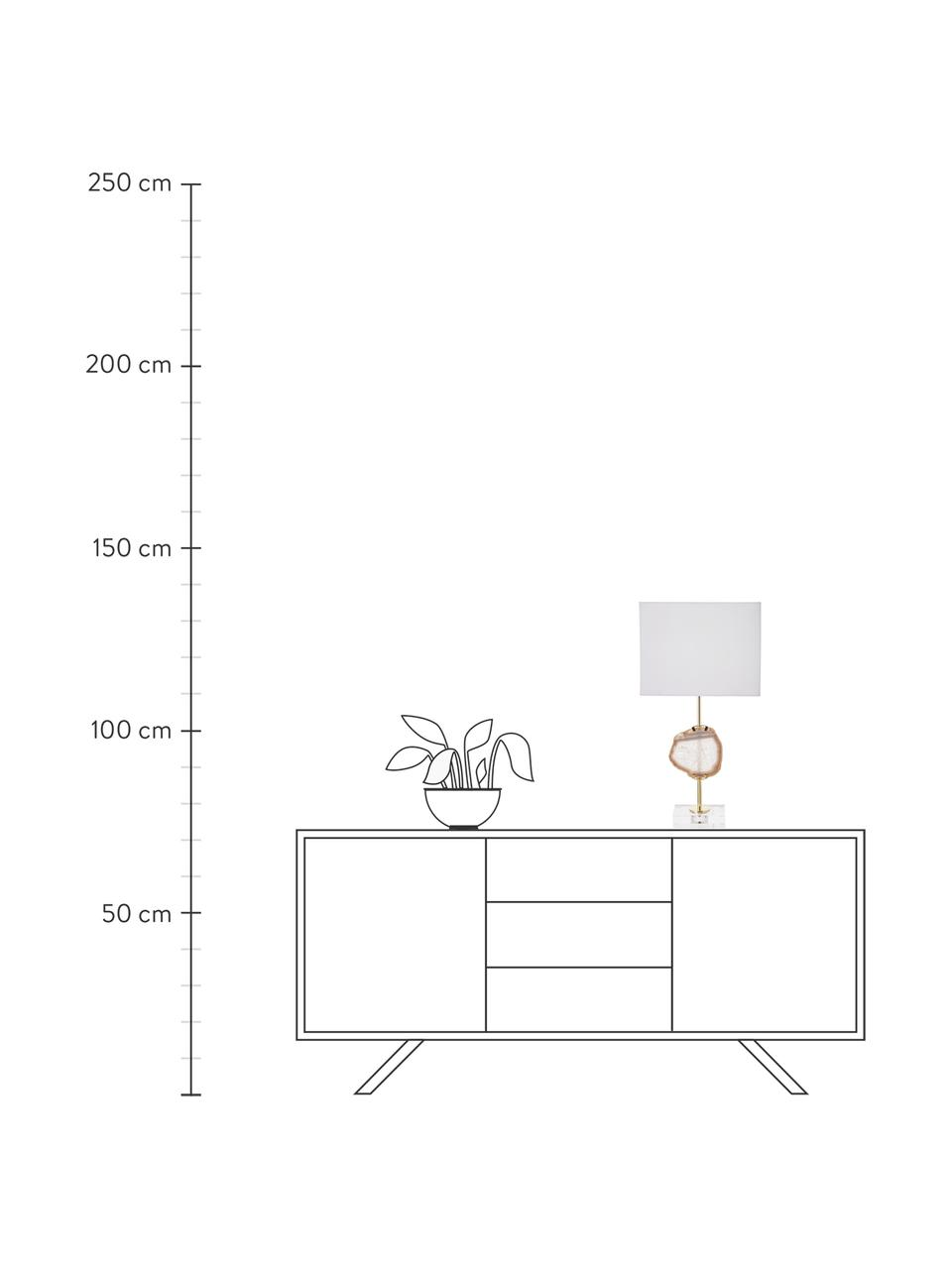 Grote glamoureuze tafellamp Treasure met agaat-decoratie, Lampenkap: katoenmix, Lampvoet: acryl, metaal, Decoratie: agaatsteen, Transparant, goudkleurig, beige agaat. Lampenkap: wit, 33 x 62 cm