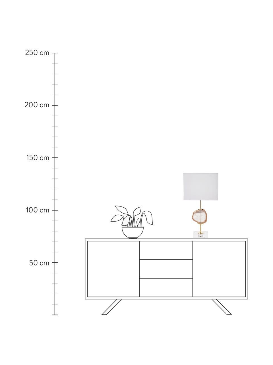 Lampa stołowa z dekoracją z agatu Treasure, Transparentny, odcienie złotego, beżowy agat Klosz: biały, S 33 x W 62 cm