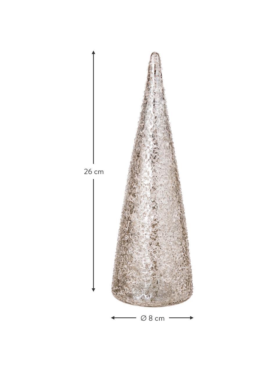 LED Leuchtobjekt Velma H 26 cm, batteriebetrieben, Glas, Silberfarben, Ø 8 x H 26 cm