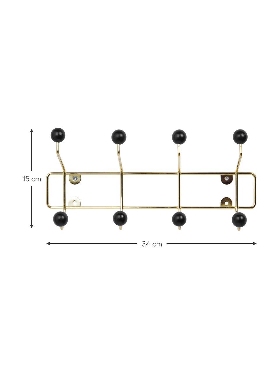 Wieszak ścienny z metalu Saturnus, Stelaż: metal lakierowany, Stelaż: odcienie złotego Hak: czarny, S 34 x W 15 cm