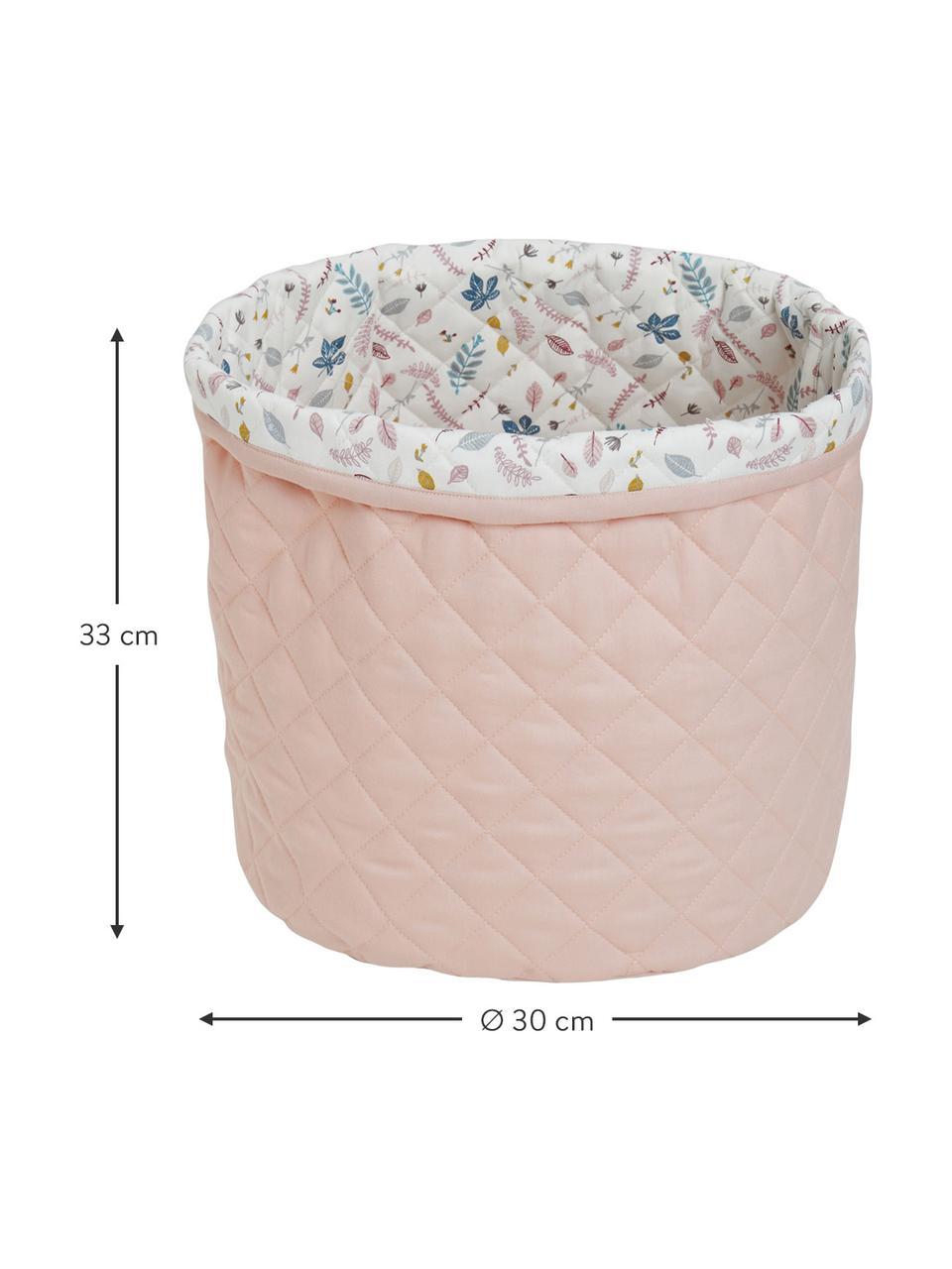 Corbeille de rangement en coton bio Pressed Leaves, Extérieur: rose Intérieur: crème, rose, bleu, gris