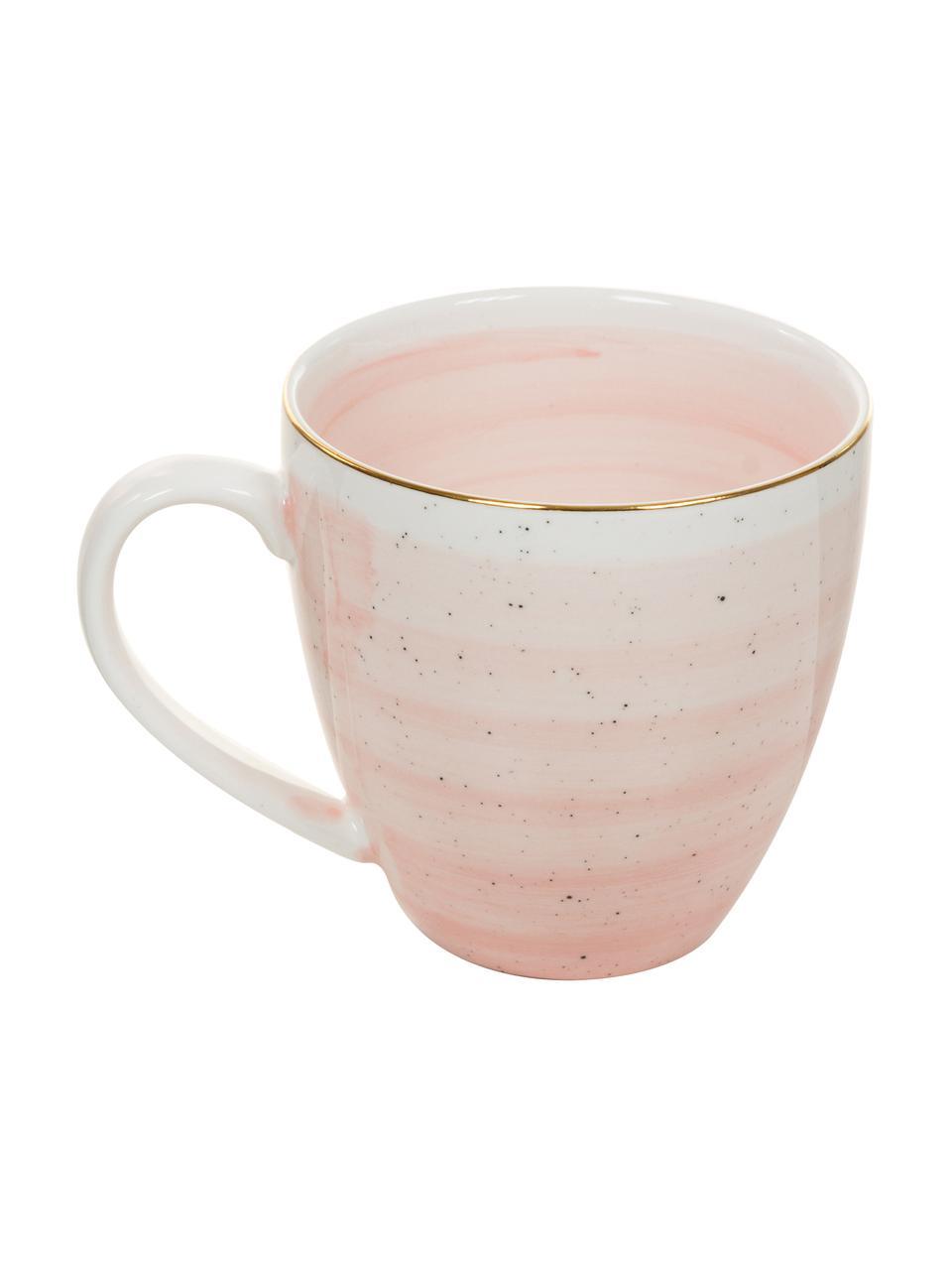 Handgemachte Kaffeetassen Bella mit Goldrand, 2 Stück, Porzellan, Rosa, Ø 9 x H 9 cm