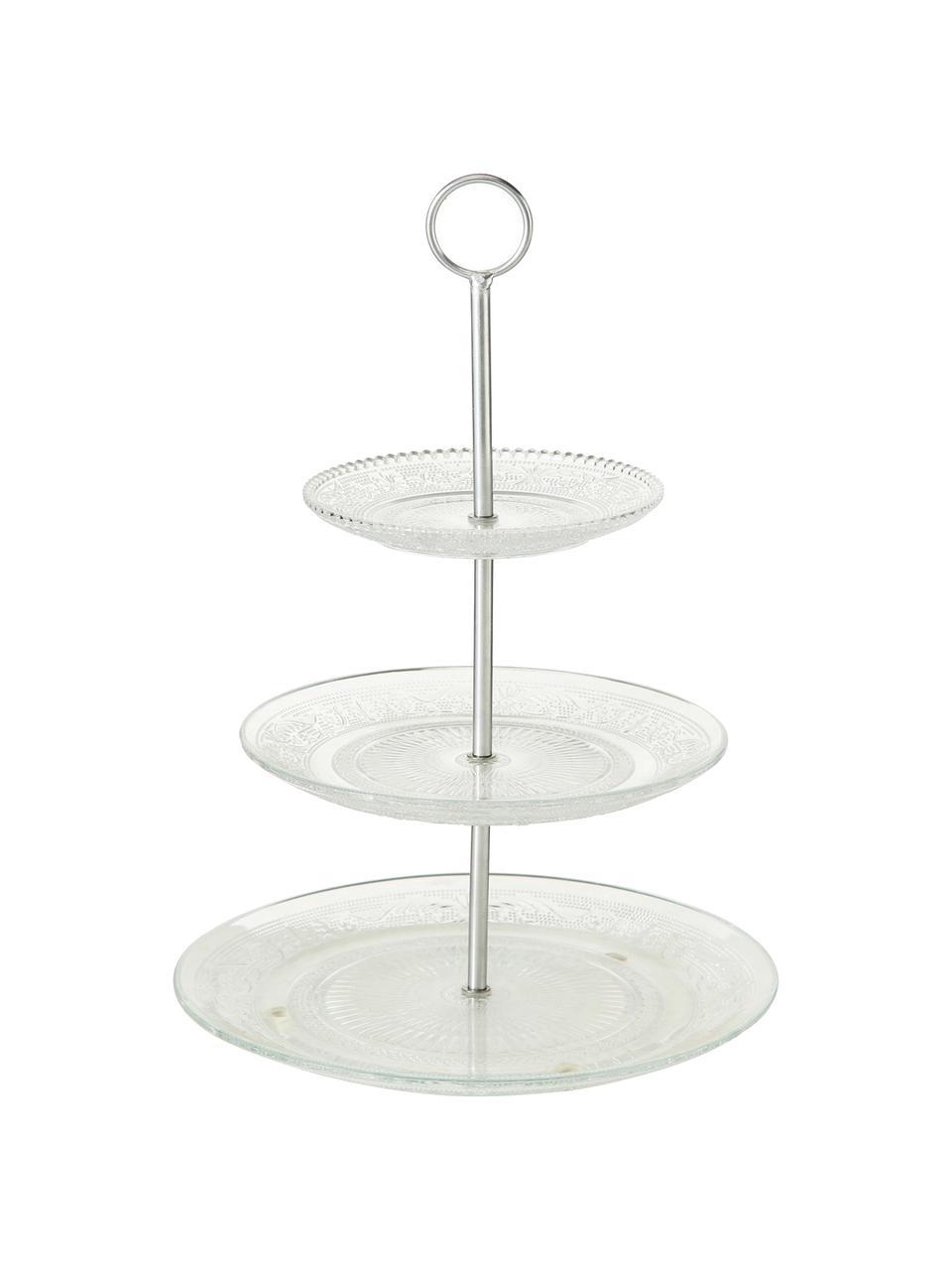Présentoir à gâteaux en verre Relief, Ø25cm, Transparent