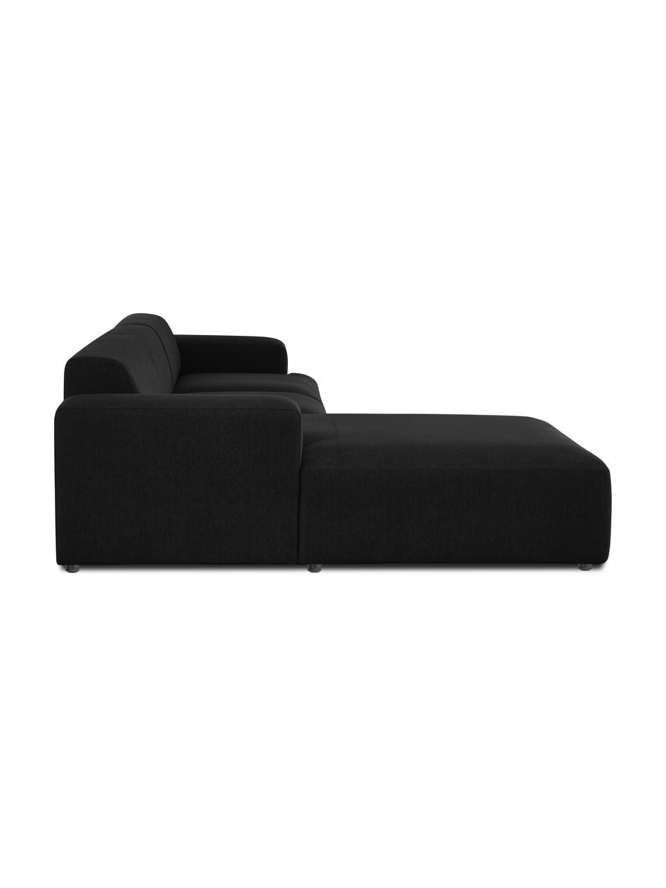 Hoekbank Melva (4-zits) in zwart, Bekleding: 100% polyester De bekledi, Frame: massief grenenhout, FSC-g, Poten: kunststof, Geweven stof zwart, B 319 x D 196 cm