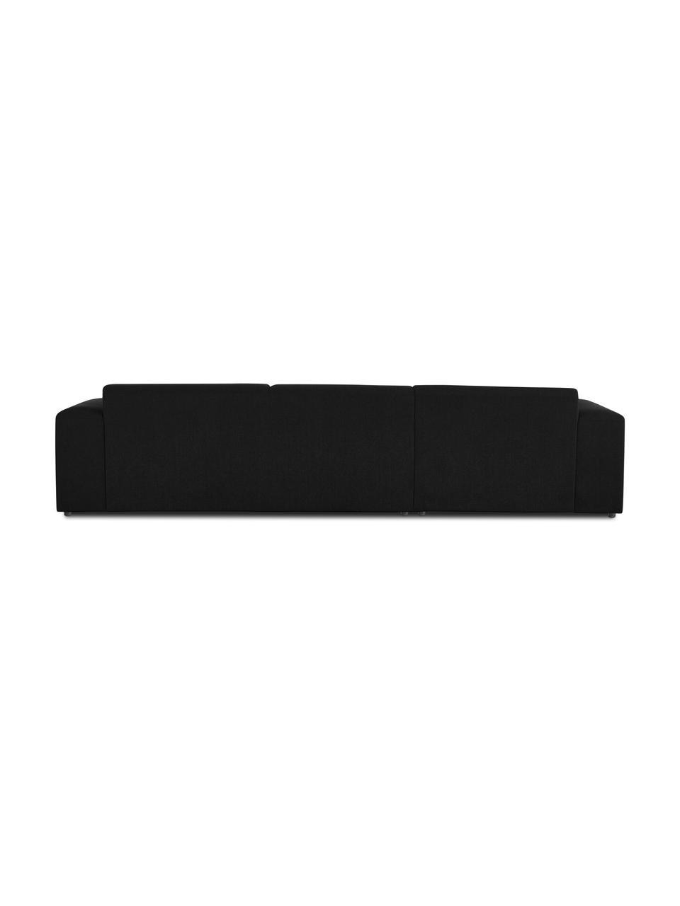 Divano angolare a 4 posti in tessuto nero Melva, Rivestimento: 100% poliestre Con 55.000, Struttura: pino massiccio, certifica, Tessuto nero, Larg. 319 x Prof. 196 cm