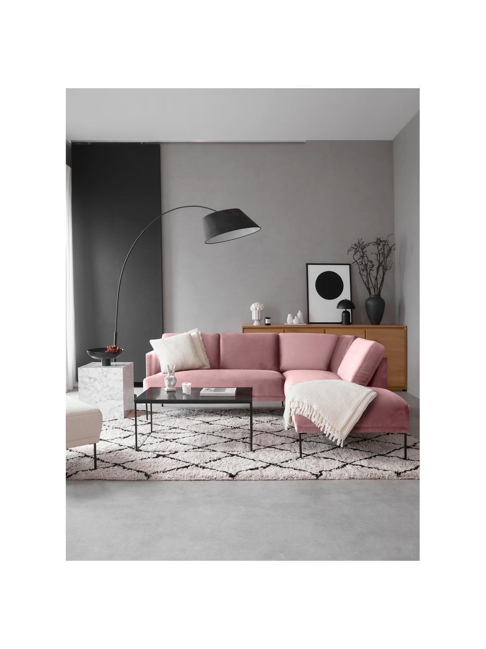 Fluwelen hoekbank Fluente in roze met metalen poten, Bekleding: fluweel (hoogwaardig poly, Frame: massief grenenhout, Poten: gepoedercoat metaal, Fluweel roze, B 221 x D 200 cm