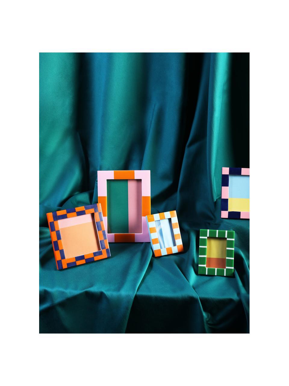 Bilderrahmen Check, Polyresin, Mitteldichte Holzfaserplatte (MDF), Blau, Rosa, 13 x 13 cm