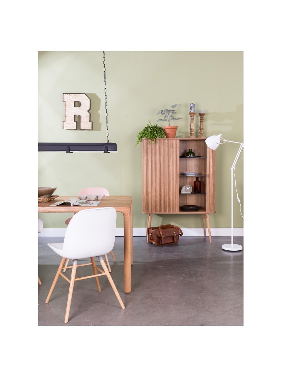 Dressoir Barbier in retro design met schuifdeuren, Frame: MDF, essenhoutfineer, Plank: hard glas, Frame: bruin. Schuifdeuren: essenhoutkleurig. Planken: transparant, 100 x 140 cm