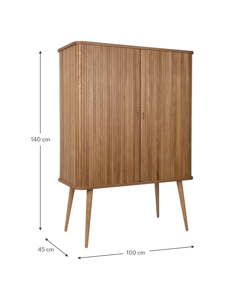 Buffet haut design rétro Barbier, Corps: brun Portes coulissantes: bois de frêne Tablettes: transparent