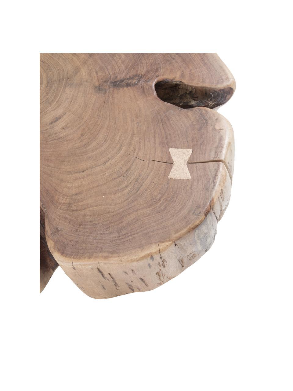 Stolik kawowy z litego drewna Essi, Blat: drewno akacjowe, Nogi: stal, Brązowy, Ø 65 x W 23 cm