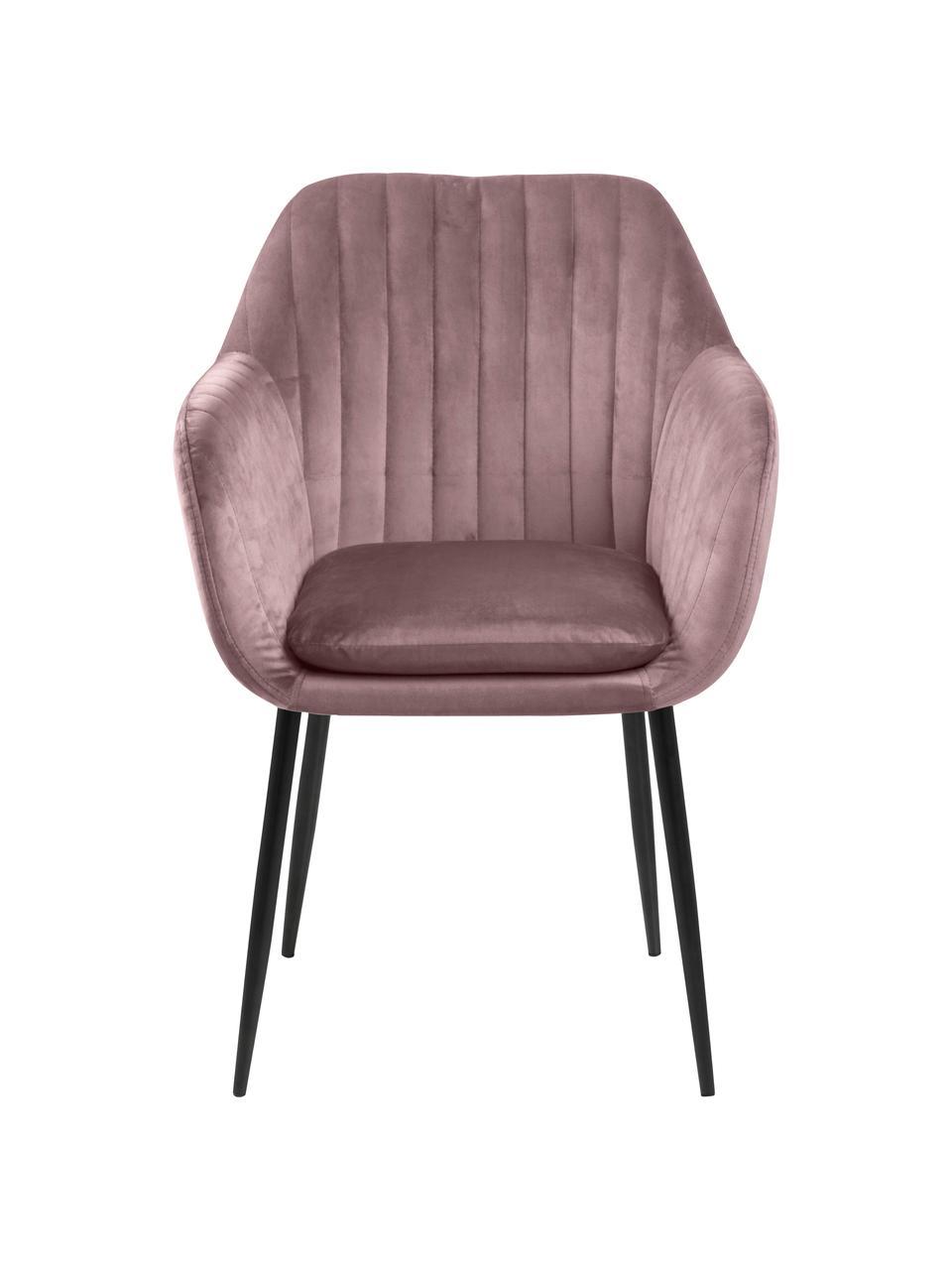 Krzesło z aksamitu z podłokietnikami i metalowymi nogami Emilia, Tapicerka: aksamit poliestrowy Dzięk, Nogi: metal lakierowany, Aksamit blady różowy, czarny, S 57 x G 59 cm