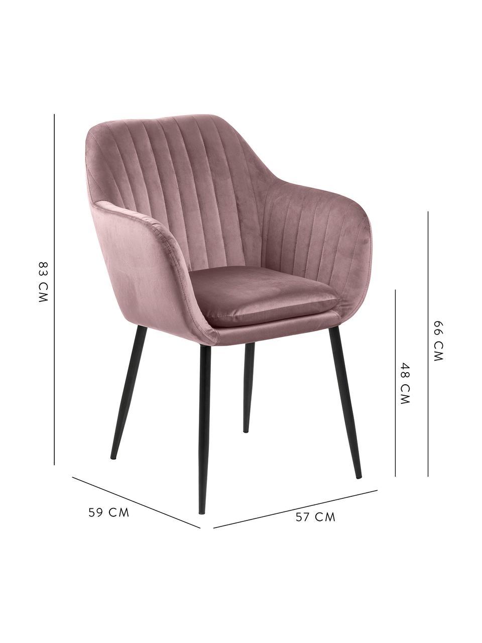 Chaise velours rose avec accoudoirs Emilia, Velours rose, pieds noir