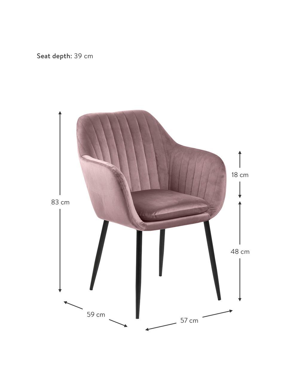 Krzesło z podłokietnikami z aksamitu i metalowymi nogami Emilia, Tapicerka: aksamit poliestrowy Dzięk, Nogi: metal lakierowany, Aksamitny blady różowy, czarny, S 57 x G 59 cm