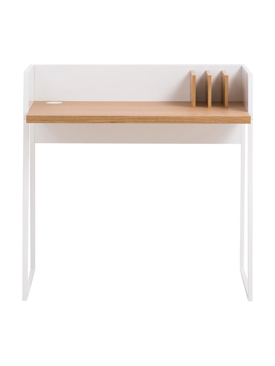 Scrivania con ripiano Camille, Gambe: metallo verniciato, Legno di quercia, bianco, Larg. 90 x Prof. 60 cm