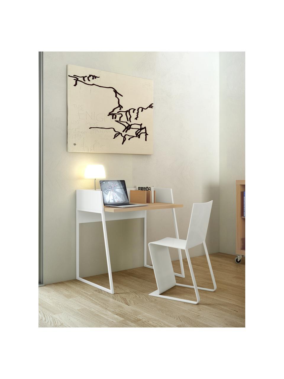 Małe biurko z przedziałami Camille, Korpus: płyta pilśniowa (MDF), la, Nogi: metal lakierowany, Drewno dębowe, biały, S 90 x G 60 cm