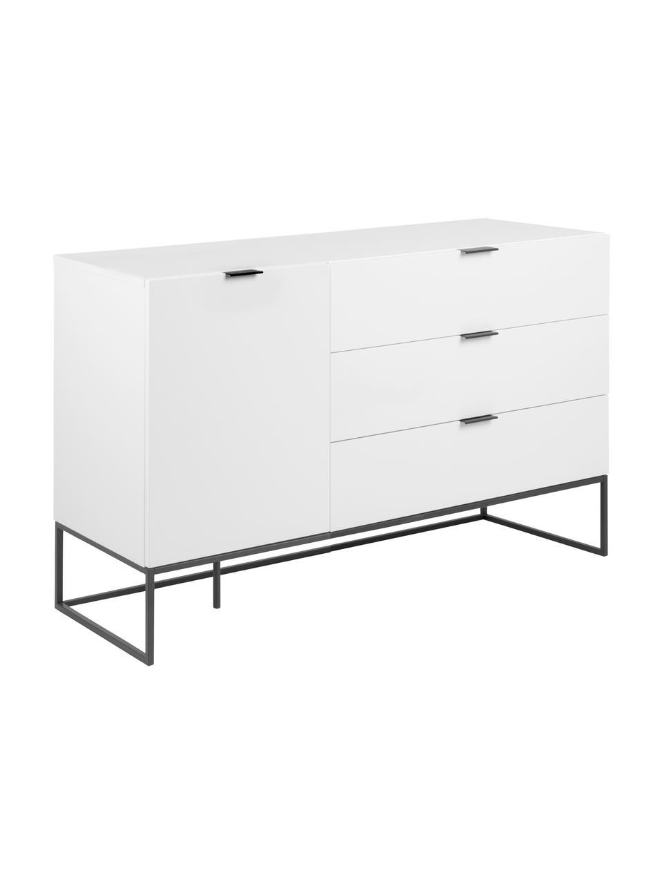 Sideboard Kobe mit Schubladen in Weiß, Weiß, Schwarz, 134 x 80 cm
