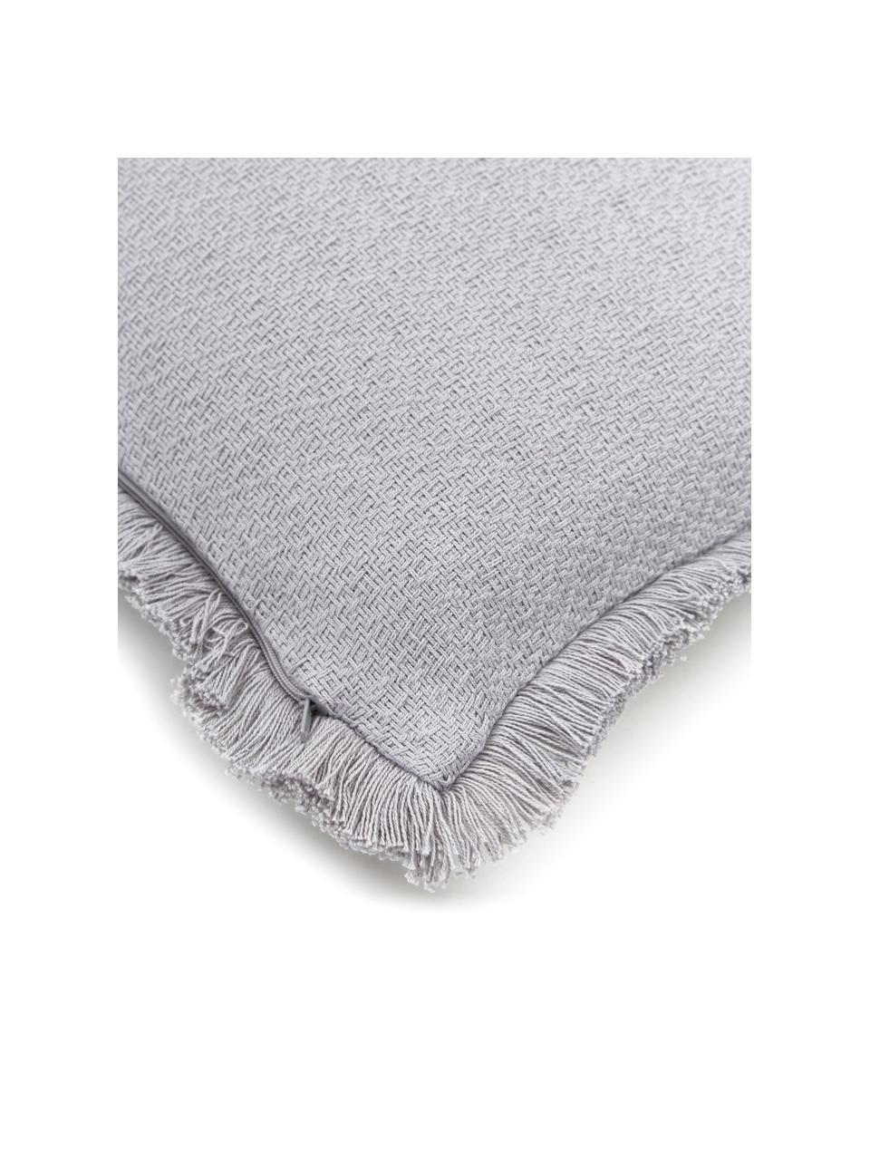 Federa arredo color grigio chiaro con frange decorative Lorel, 100% cotone, Grigio, Larg. 40 x Lung. 40 cm