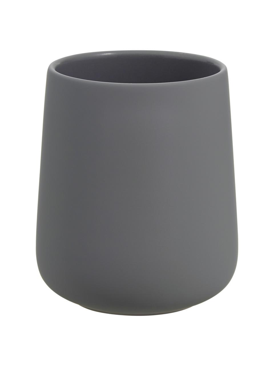 Porzellan-Zahnputzbecher Nova One, Porzellan, Grau, Ø 8 x H 10 cm