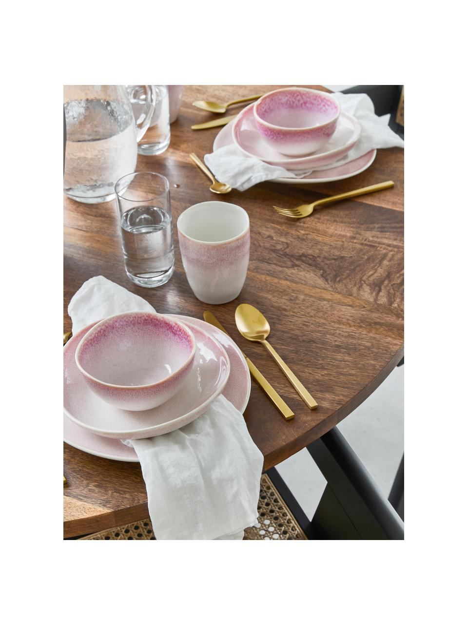 Handgemachte Speiseteller Amalia mit effektvoller Glasur, 2 Stück, Porzellan, Hellrosa, Cremeweiss, Ø 25 cm