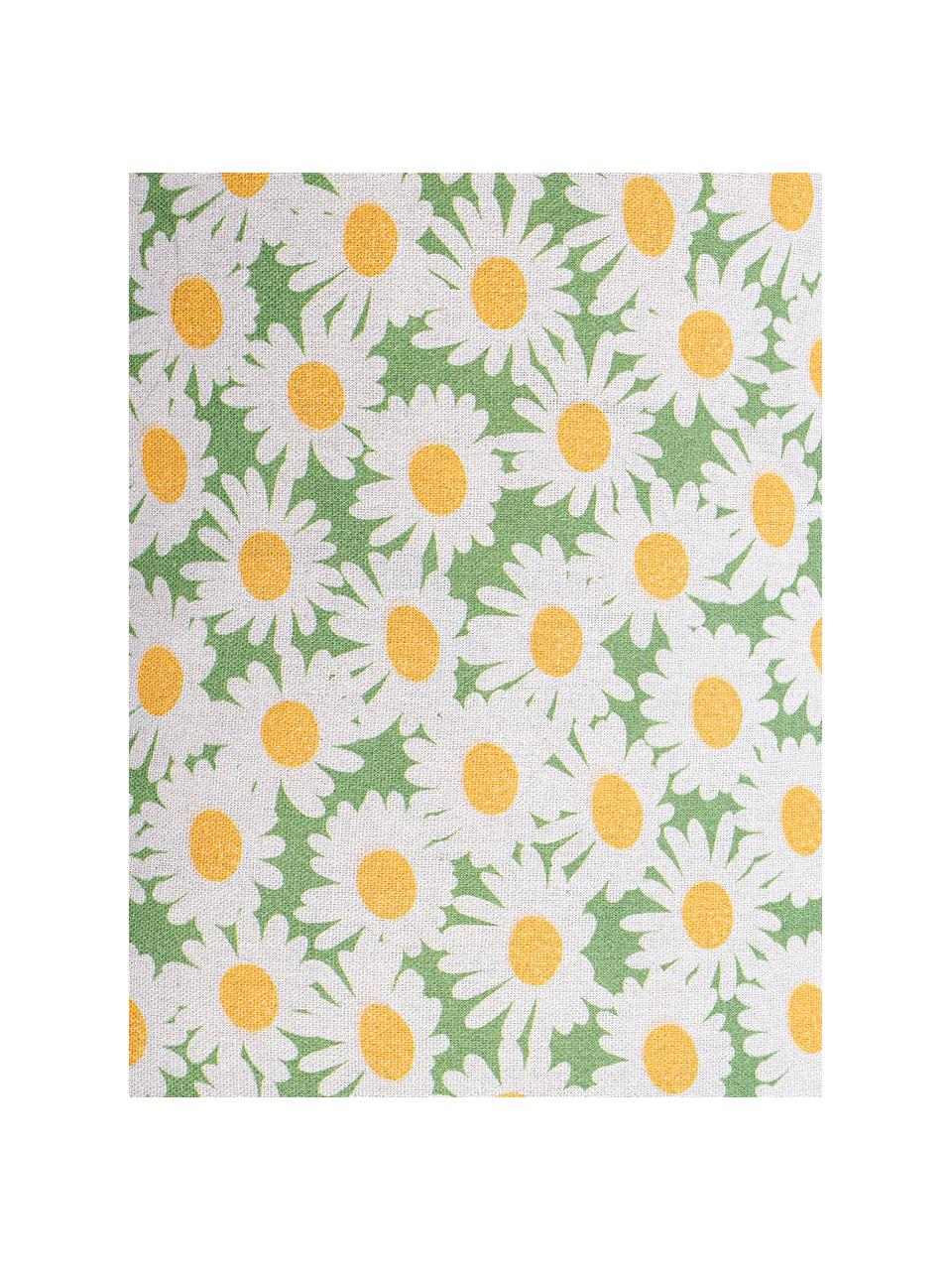 Kissenhülle Margerite mit Blumenmotiv, Webart: Halbpanama, Weiß, Grün, Gelb, 30 x 50 cm
