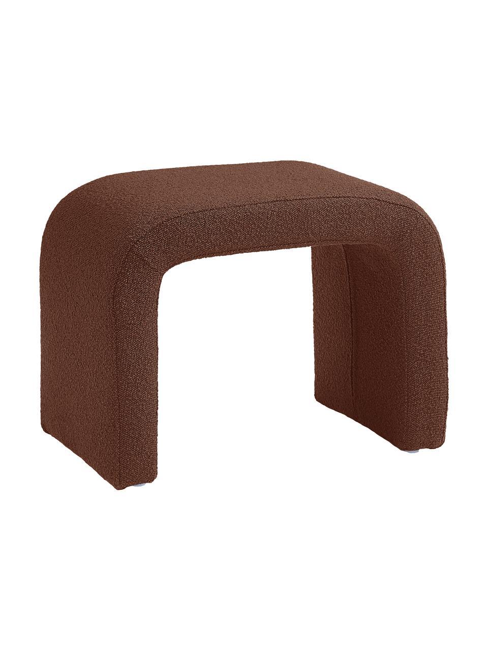Tabouret en tissu bouclé Pénélope, Tissu bouclé brun