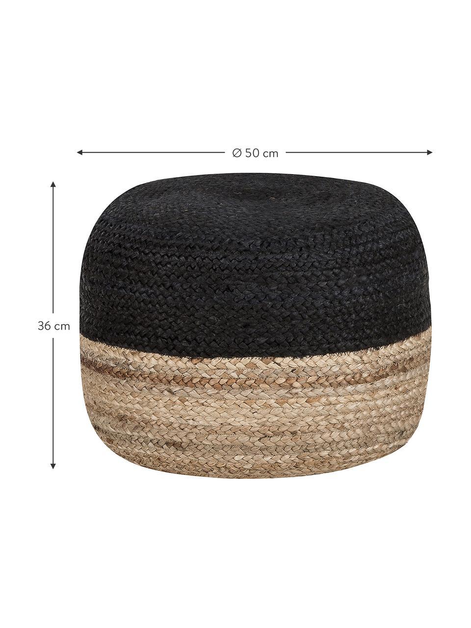 Ręcznie wykonany puf  z juty Bono, Tapicerka: juta, Beżowy, czarny, Ø 50 x W 36 cm