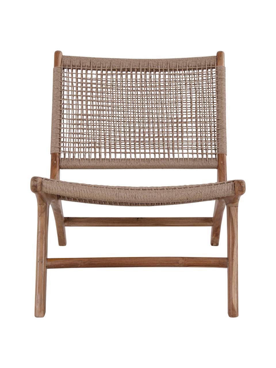 Fotel wypoczynkowy z drewna tekowego Derby, Drewno tekowe, beżowy, S 60 x G 80 cm
