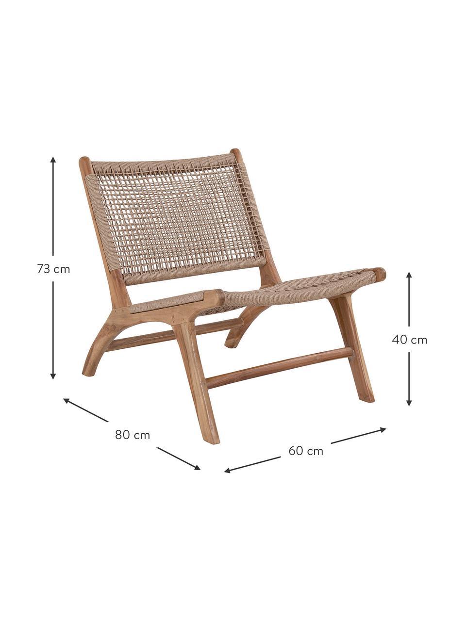 Sedia a poltrona in legno di teak Derby, Struttura: teak Seduta e schienale, Legno di teak, beige, Larg. 60 x Prof. 80 cm