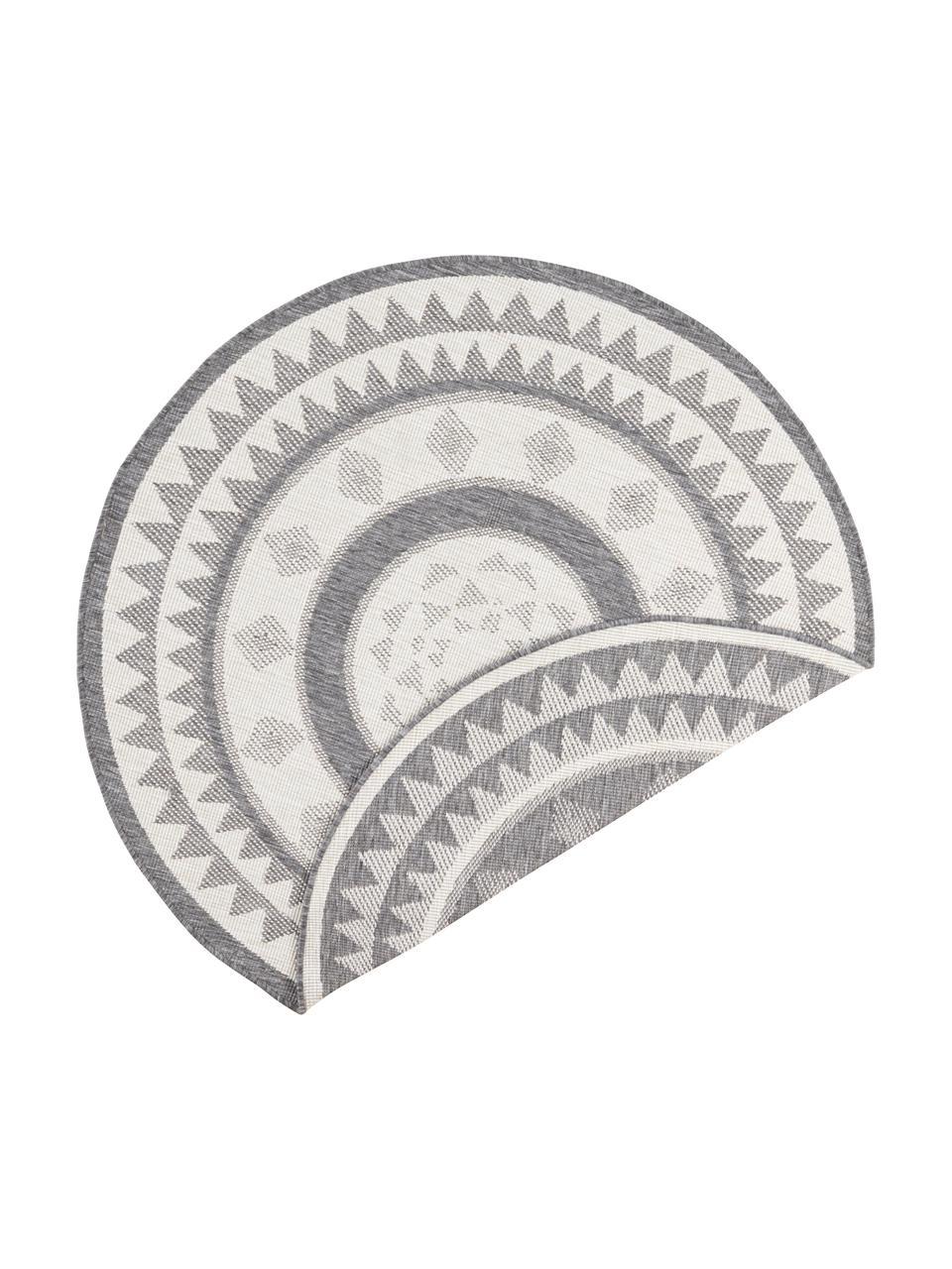 Runder In- & Outdoor-Wendeteppich Jamaica in Grau/Creme, 100% Polypropylen, Grau, Creme, Ø 200 cm (Größe L)