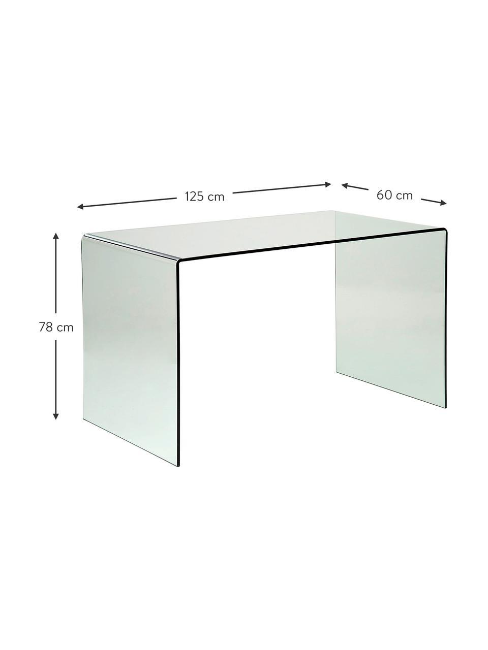 Scrivania in vetro Club, Vetro, Trasparente, Larg. 125 x Prof. 60 cm