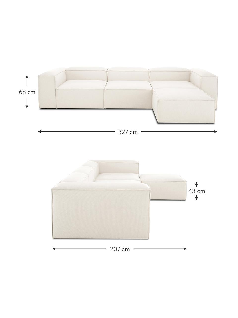 Narożna sofa modułowa Lennon, Tapicerka: 60% poliester, 40% wiskoz, Stelaż: masywne drewno sosnowe, p, Nogi: tworzywo sztuczne, Beżowy, S 327 x G 207 cm
