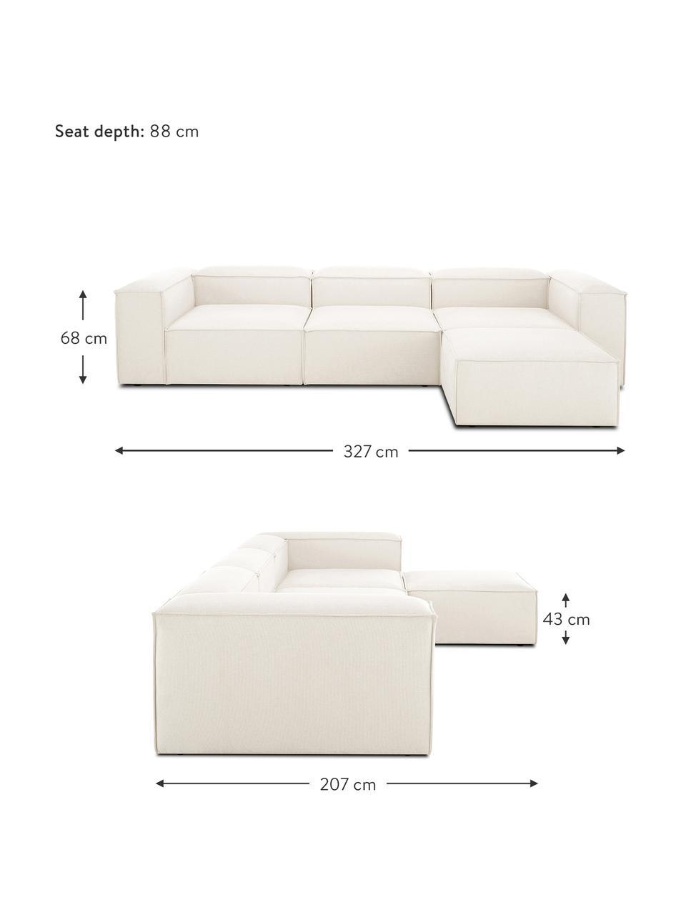 Modulares Sofa Lennon (4-Sitzer) mit Hocker in Beige, Bezug: Polyester Der hochwertige, Gestell: Massives Kiefernholz, Spe, Füße: Kunststoff Die Füße befin, Webstoff Beige, B 327 x T 207 cm