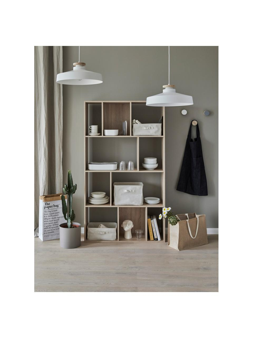 Skandi-Pendelleuchte Malm, Lampenschirm: Metall, Dekor: Holz, Baldachin: Metall, Weiß, Ø 40 x H 20 cm