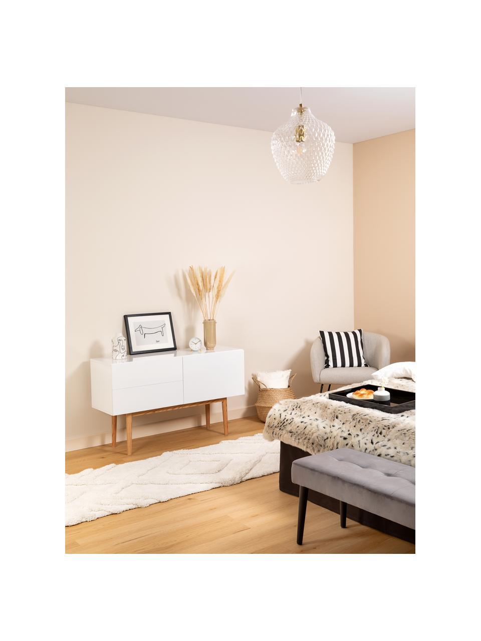 Dressoir High on Wood in wit hoogglans, Frame: PU gelakt MDF, Poten: massief eikenhout, Wit, naturel, 120 x 72 cm