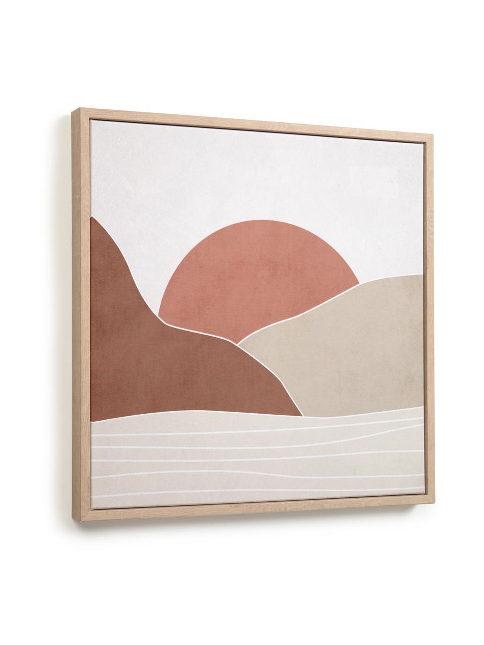 Ingelijste digitale print Izem Sun, Lijst: gecoat MDF, Afbeelding: canvas, Beige, bruin, oudroze, wit, 40 x 40 cm