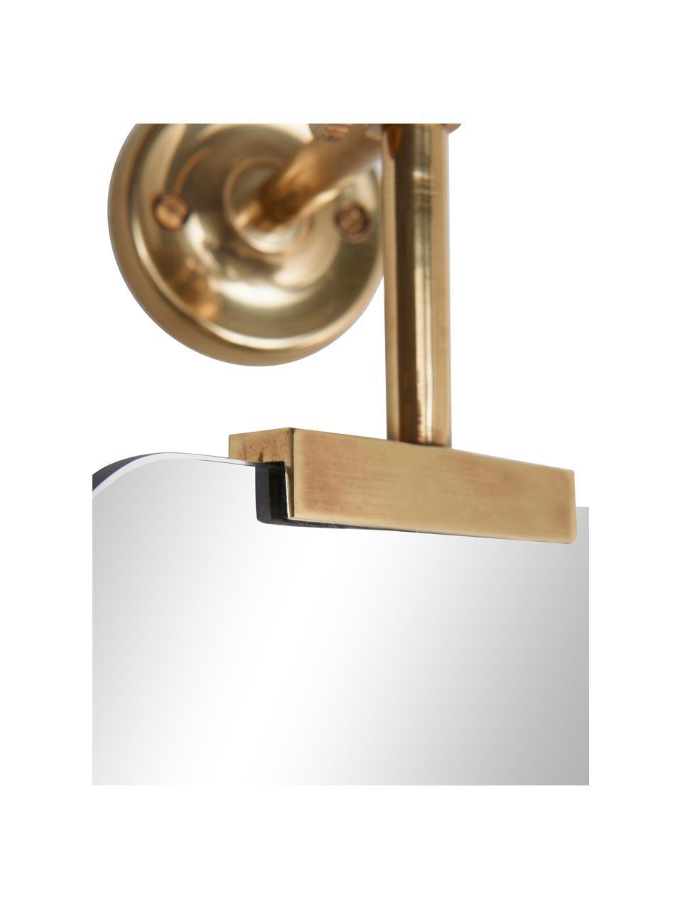 Specchio da parete girevole con cornice dorata Uma, Superficie dello specchio: lastra di vetro, Dorato, Larg. 10 x Alt. 30 cm