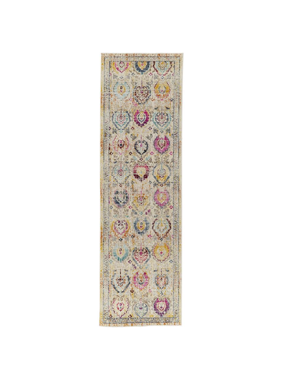 Niederflor-Läufer Kashan Vintage mit bunten Ornamenten, Flor: 100% Polypropylen, Beige, Mehrfarbig, 70 x 232 cm