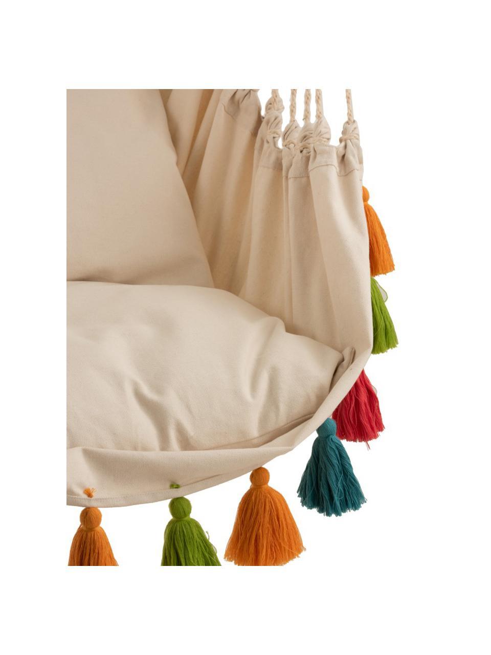 Fauteuil suspendu à houppes multicolores Quast, Couleur crème, multicolore