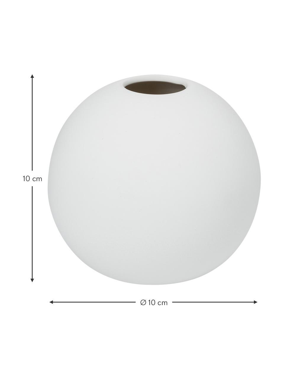 Ručně vyrobená kulatá váza Ball, Bílá