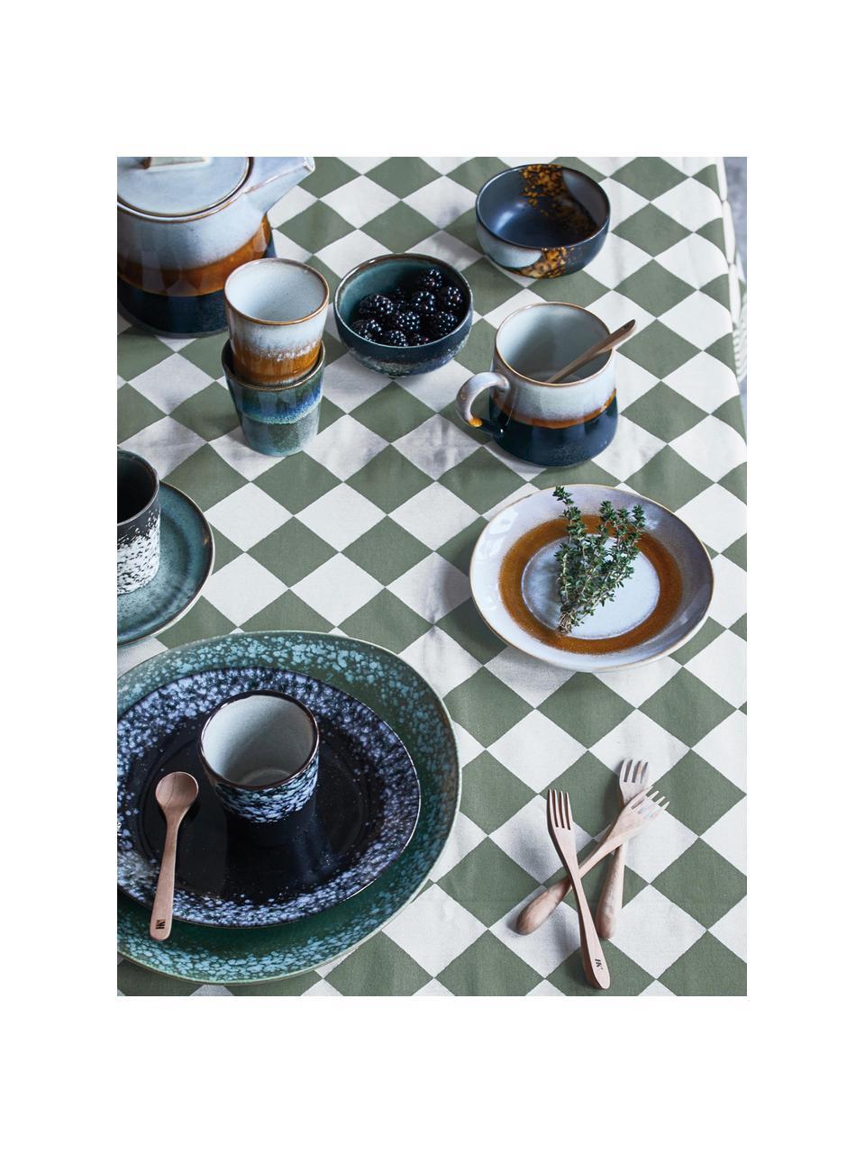 Handgemaakte taartplaten 70's in retro stijl, 2 stuks, Keramiek, Wit, oranje, Ø 18 cm