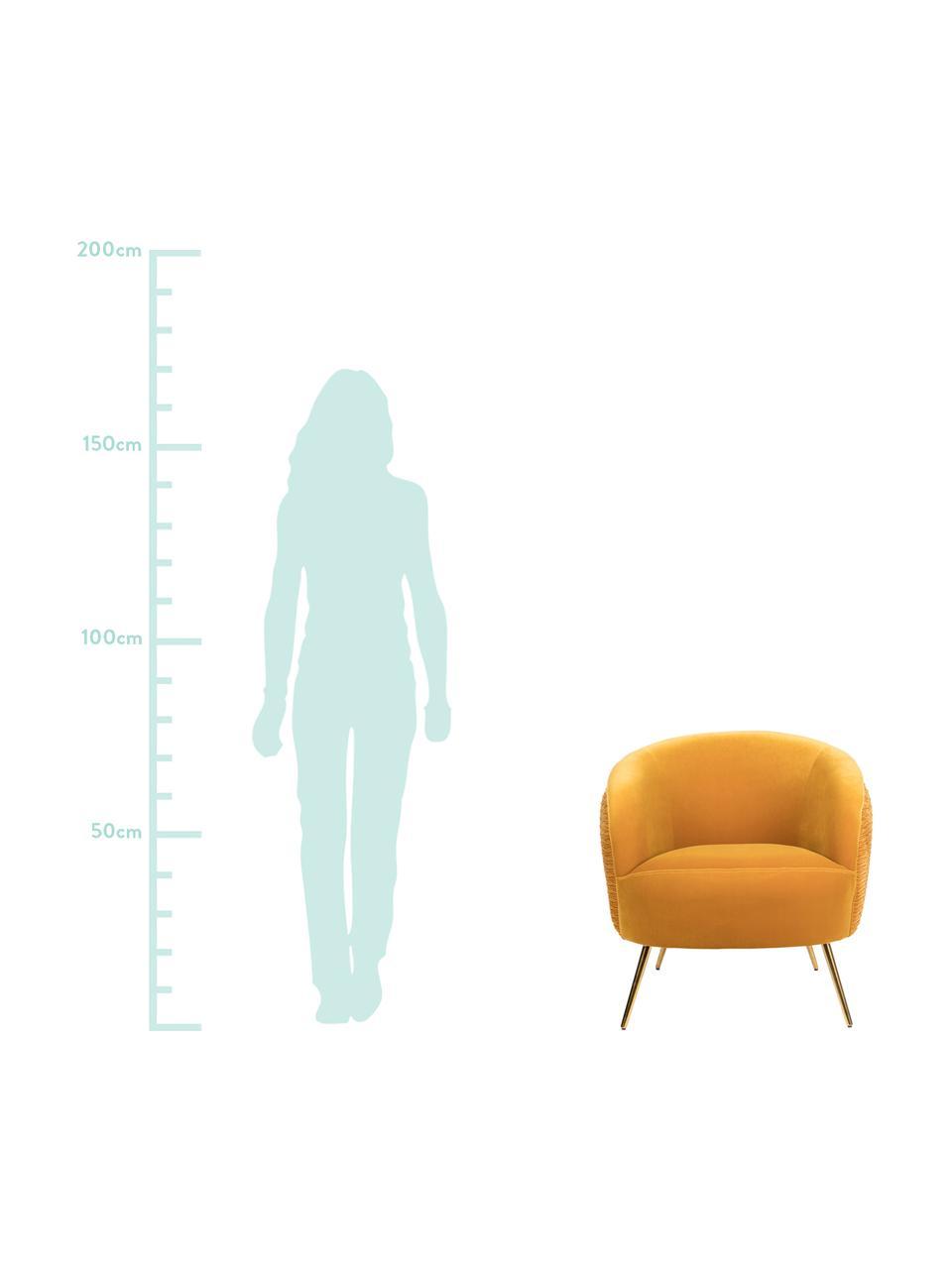 Samt-Cocktailsessel So Curvy in Gelb, Bezug: Polyestersamt Der hochwer, Füße: Edelstahl, galvanisiert, Samt Ockergelb, B 78 x T 77 cm