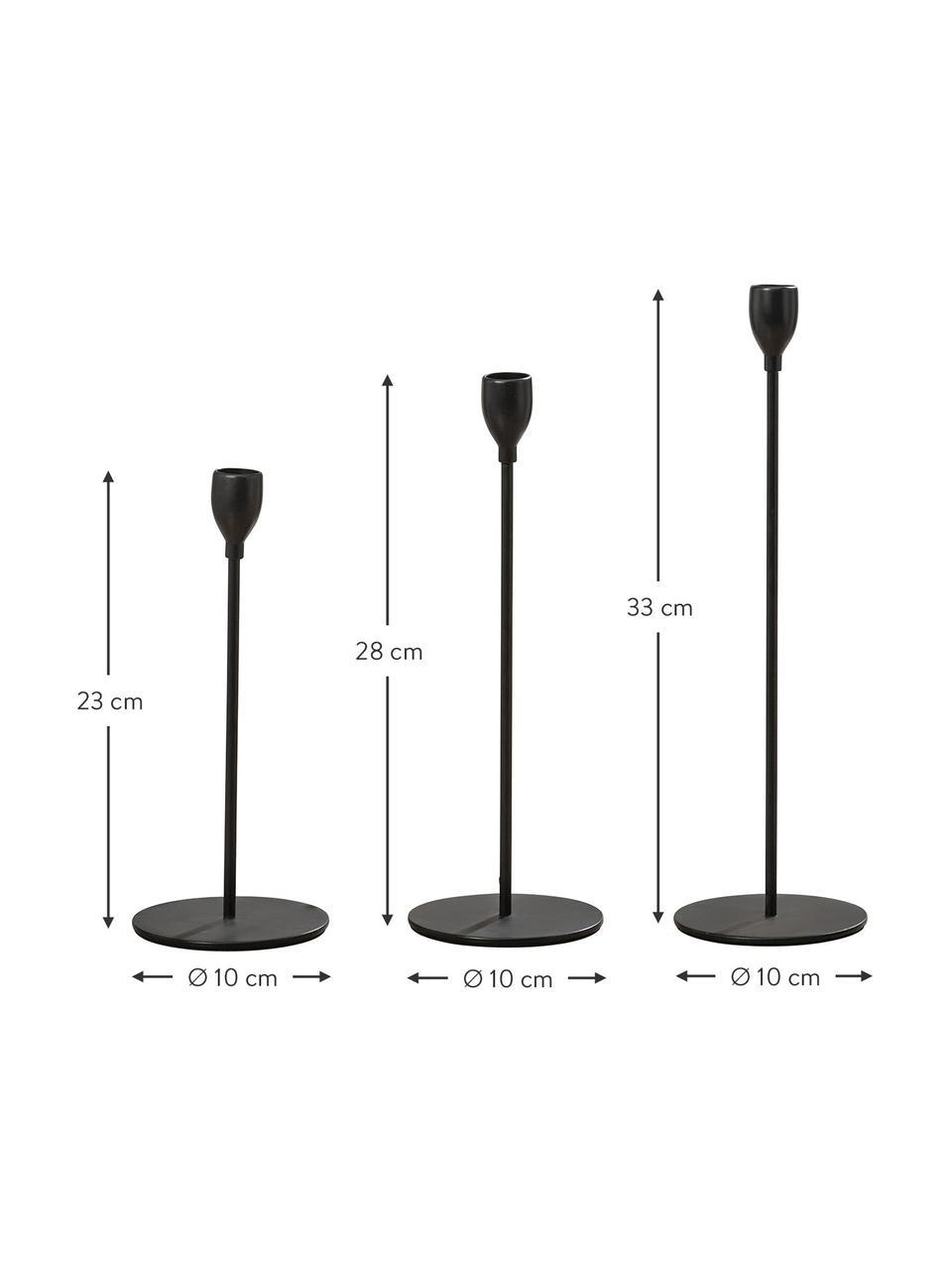 Komplet świeczników Malte, 3elem., Metal powlekany, Czarny, Komplet z różnymi rozmiarami