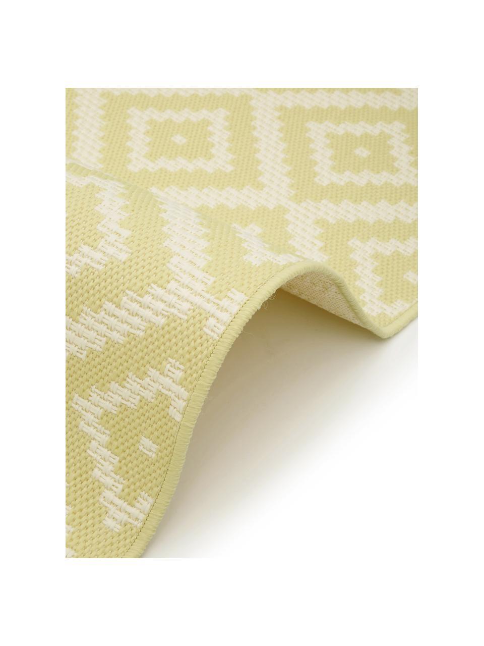 Gemusterter In- & Outdoor-Teppich Miami in Gelb/Weiß, 86% Polypropylen, 14% Polyester, Weiß, Gelb, B 200 x L 290 cm (Größe L)