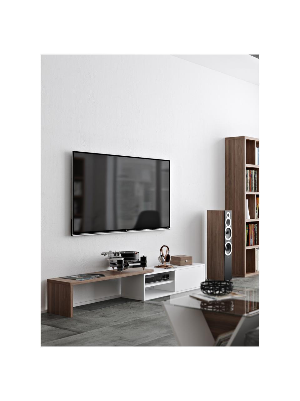 Wysuwana szafka RTV z przesuwanymi drzwiczkami  Lieke, Drewno orzecha włoskiego, biały, S 110 do 203 x W 32 cm
