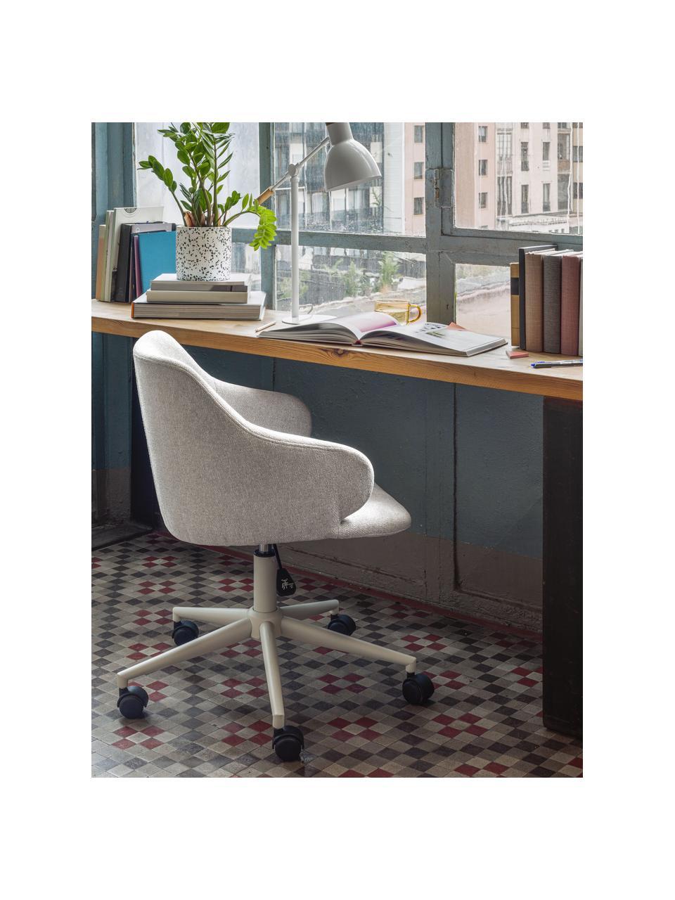 Bureaustoel Einara, in hoogte verstelbaar, Bekleding: polyester, Frame: gecoat staal, Wieltjes: polypropyleen, Grijs, 64 x 64 cm
