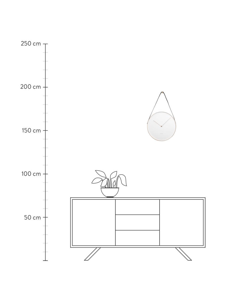 Wanduhr Belt, Metall, beschichtet, Weiß, Messingfarben, Schwarz, Ø 34 cm