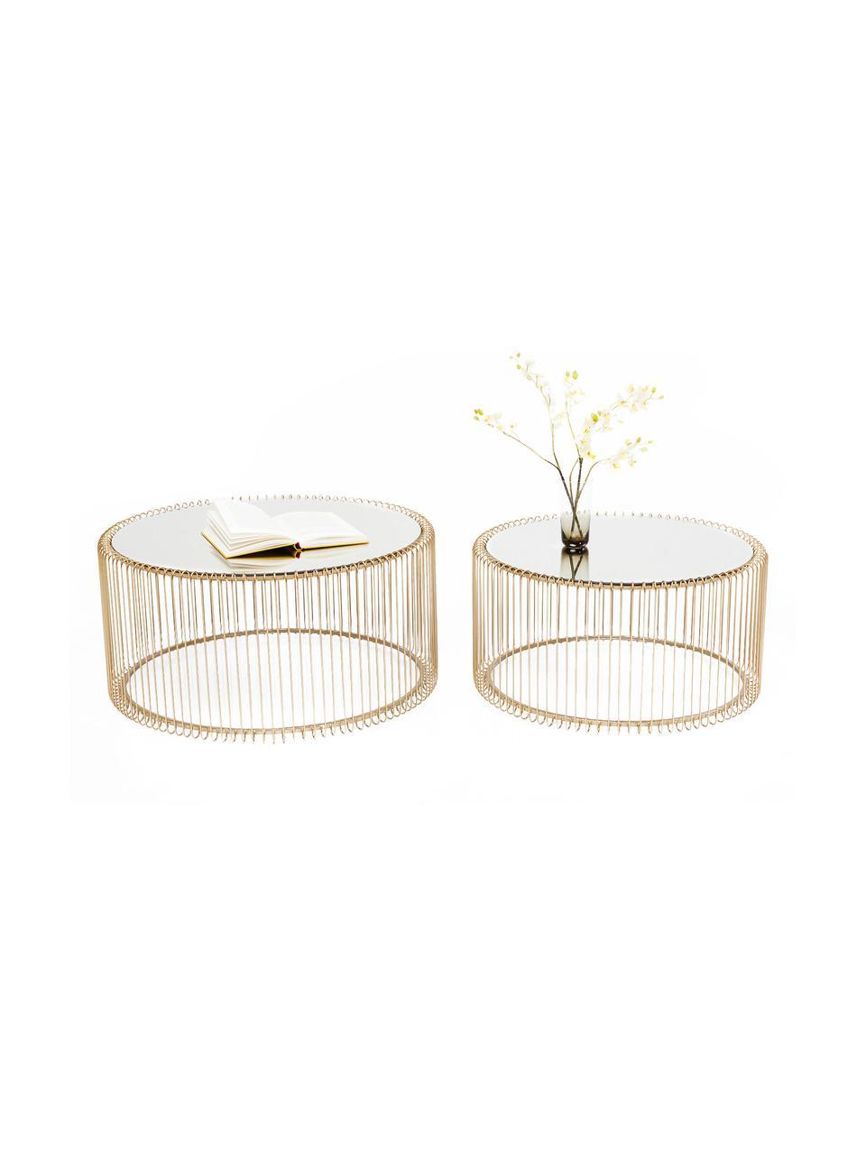 Set 2 tavolini da salotto in metallo con piano in vetro Wire, Struttura: metallo verniciato a polv, Ottonato, Set in varie misure