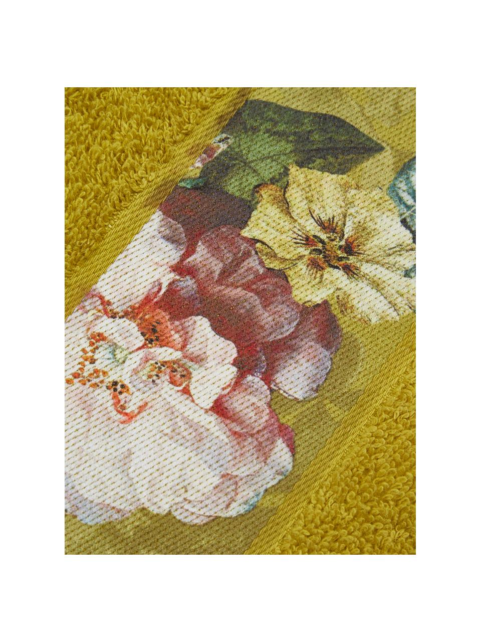 Handtuch Fleur in verschiedenen Größen, mit Blumen-Bordüre, 97% Baumwolle, 3% Polyester, Senfgelb, Mehrfarbig, Gästehandtuch